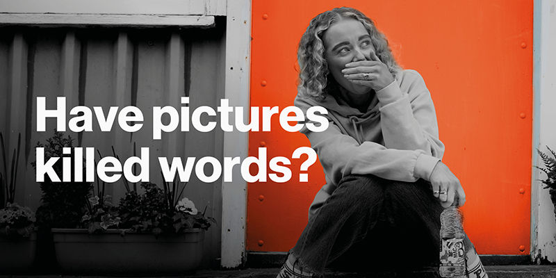 Have Pictures Killed Words? Image with girl in front of Denvir Orange Wall